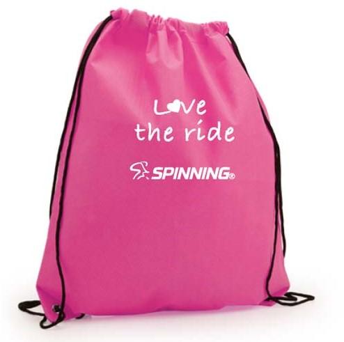 Love the Ride Drawstring Bag Pink