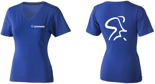 Spinning® Womens V Neck T-Shirt Blue Small